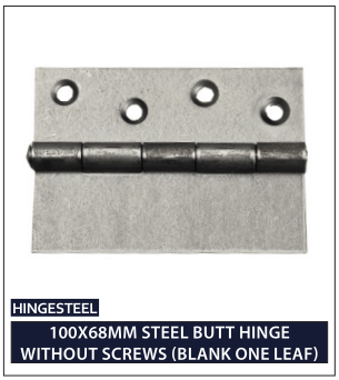 100X68MM STEEL BUTT HINGE WITHOUT SCREWS (BLANK ONE LEAF)