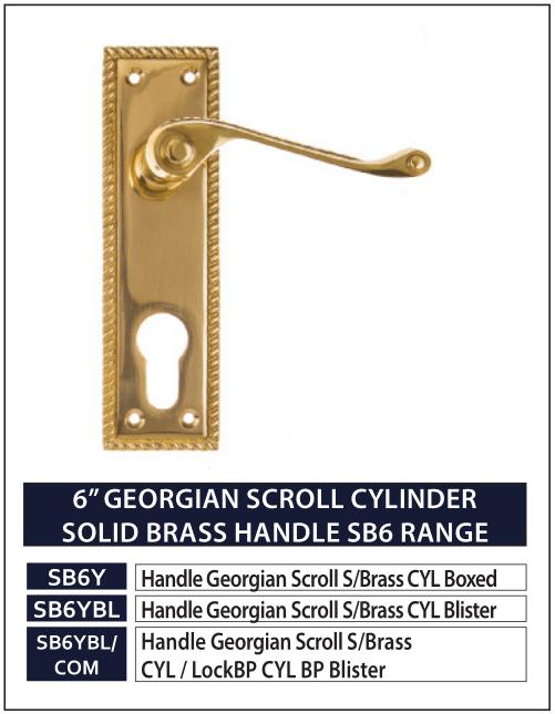 "6"" GEORGIAN SCROLL CYLINDER SOLID BRASS HANDLE SB6 RANGE"