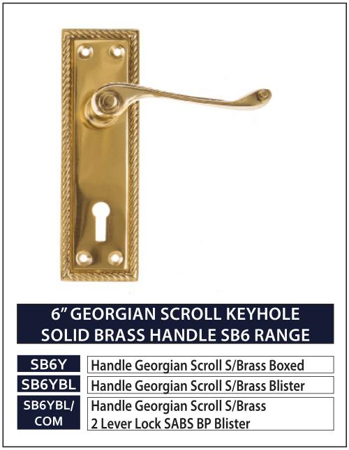 "6"" GEORGIAN SCROLL KEYHOLE SOLID BRASS HANDLE SB6 RANGE"