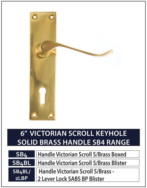 "6"" VICTORIAN SCROLL KEYHOLE SOLID BRASS HANDLE SB4 RANGE"