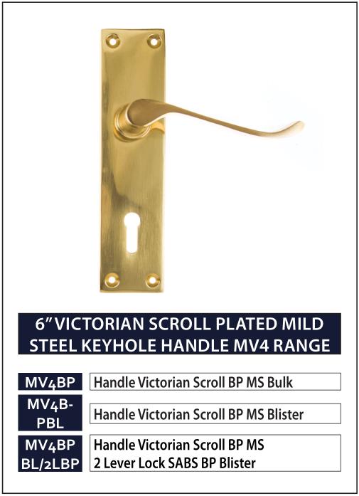 """6"""" VICTORIAN SCROLL PLATED MILD STEEL KEYHOLE HANDLE MV4 RANGE"""