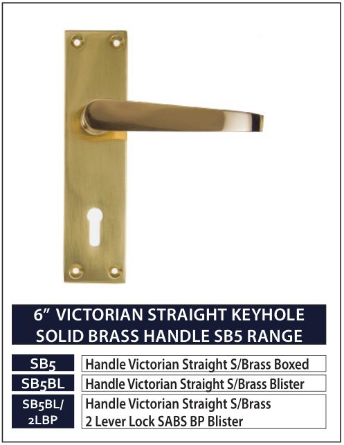 "6"" VICTORIAN STRAIGHT KEYHOLE SOLID BRASS HANDLE SB5 RANGE"