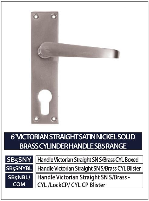 """6"""" VICTORIAN STRAIGHT SATIN NICKEL SOLID BRASS CYLINDER HANDLE SB5 RANGE"""