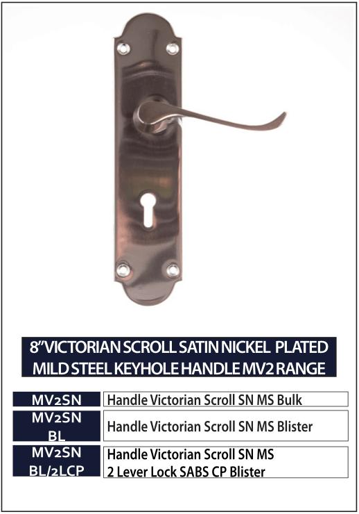 "8"" VICTORIAN SCROLL SATIN NICKEL PLATED MILD STEEL KEYHOLE HANDLE MV2 RANGE"