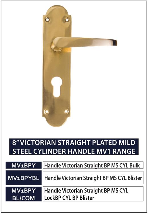 "8"" VICTORIAN STRAIGHT PLATED MILD STEEL CYLINDER HANDLE MV1 RANGE"