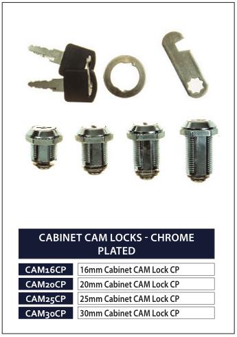 CABINET CAM LOCKS - CHROME PLATED