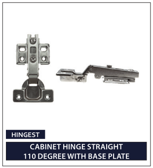 CABINET HINGE STRAIGHT 110 DEGREE WITH BASE PLATE