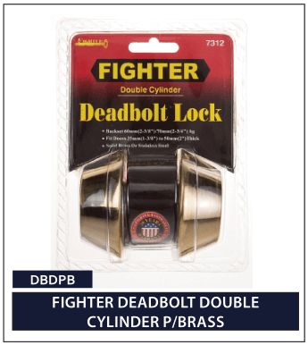 FIGHTER DEADBOLT BOUBLE CYLINDER P-BRASS