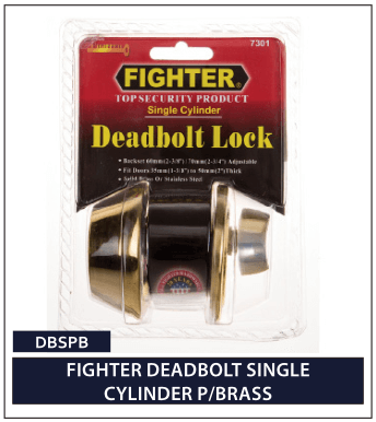 FIGHTER DEADBOLT SINGLE CYLINDER P-BRASS