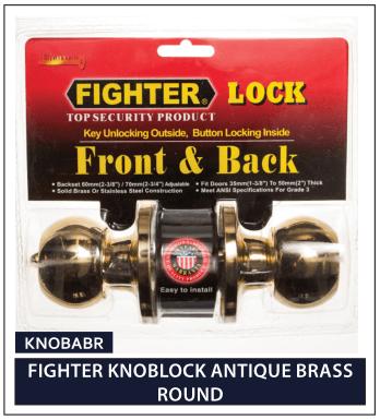 FIGHTER KNOBLOCK ANTIQUE BRASS ROUND