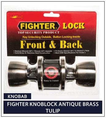 FIGHTER KNOBLOCK ANTIQUE BRASS TULIP