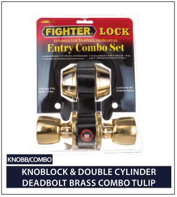 KNOCKBLOCK & DOUBLE CYLINDER DEADBOLT BRASS COMBO TULIP