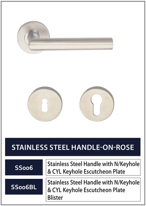 STAINLESS STEEL HANDLE-ON-ROSE 6