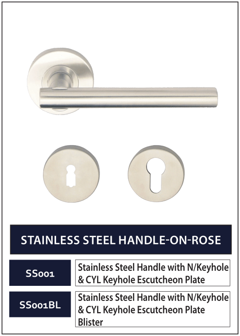STAINLESS STEEL HANDLE-ON-ROSE